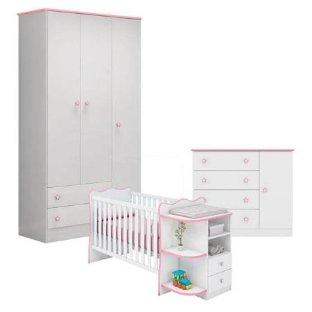 Quarto de Bebê Doce Sonho 2617 Cômoda 2561 e Berço Com Cantoneira 101 Branco Rosa - Qmovi
