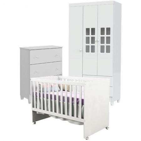 Quarto de Bebê Gaveteiro Mariah 3P com Berço Gabi Branco Brilho - Carolina