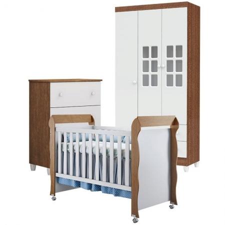 Quarto de Bebê Gaveteiro Mariah 3P com Berço Mirelle Branco Acetinado Amadeirado - Carolina