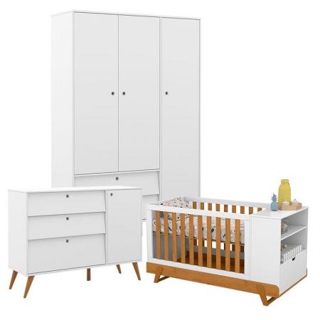 Quarto de Bebê Gold 3 Portas com Berço Multifuncional Bkids Branco Freijó Eco Wood - Matic