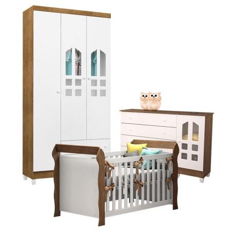 Quarto de Bebê Gran Selena 3 Portas com Berço Lara Branco Acetinado Amadeirado - Carolina