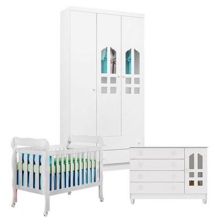Quarto de Bebê Gran Selena 3 Portas com Berço Lila Branco Brilho - Carolina