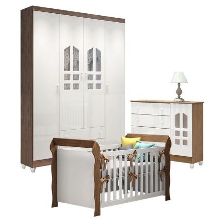 Quarto de Bebê Gran Selena 4 Portas com Berço Lara Branco Acetinado Amadeirado - Carolina