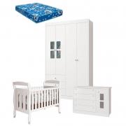 Quarto de Bebê Joãozinho 4 Portas com Berço Sophia Branco Acetinado e Colchão - Reller