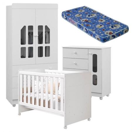 Quarto de Bebê Katatau Flex 2 Portas Branco Brilho com Colchão - Reller