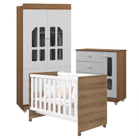 Quarto de Bebê Katatau Flex 2 Portas Branco Mezzo Brilho - Reller