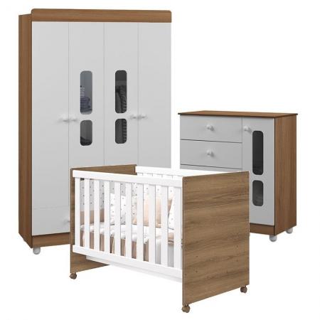 Quarto de Bebê Katatau Flex 4 Portas Branco Mezzo Brilho - Reller