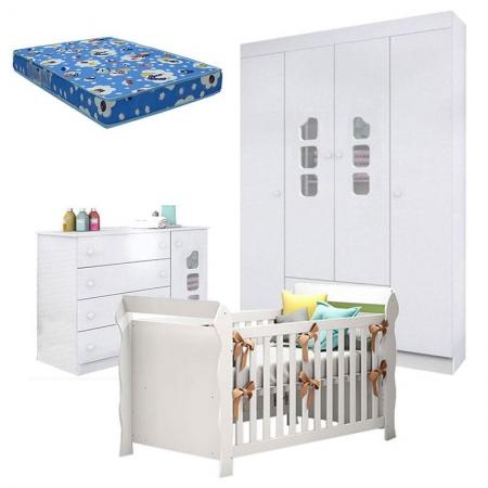 Quarto de Bebê Lívia com Berço Americano Lara Branco Brilho e Colchão - Phoenix