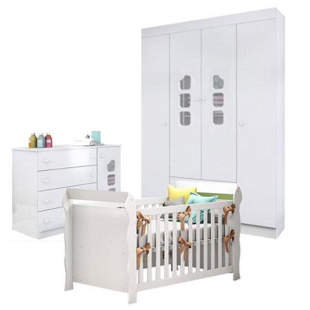 Quarto de Bebê Lívia com Berço Americano Lara Branco Brilho - Phoenix