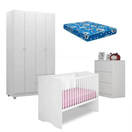 Quarto de Bebê Louise 4 Portas com Berço Alegria Branco Brilho e Colchão Ortobom - AJL