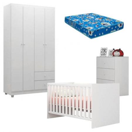 Quarto de Bebê Louise 4 Portas com Berço Doce Sonho 100 Branco Brilho e Colchão - AJL