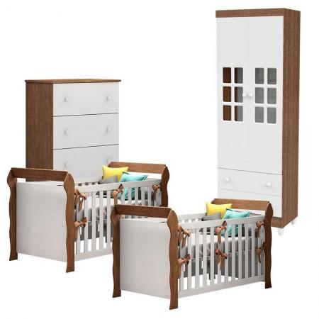 Quarto de Bebê Mariah 2 Portas com Gaveteiro e 2 Berços Americanos Lara Branco Amadeirado - Carolina