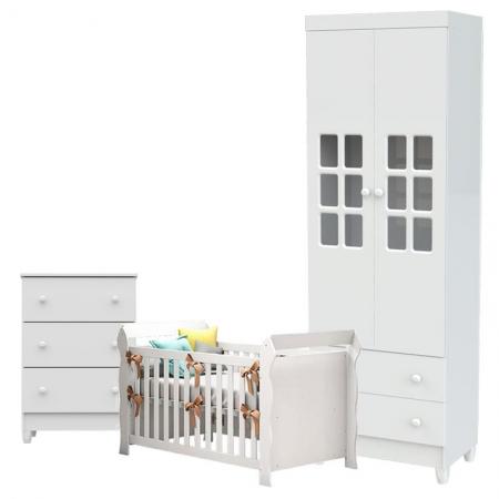 Quarto de Bebê Mariah 2 Portas Cômoda Gaveteiro com Berço Lara Branco Brilho - Carolina