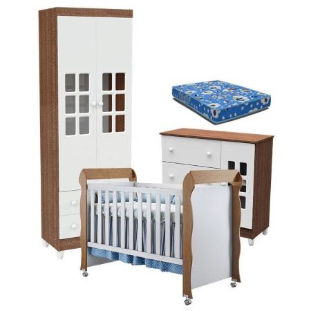 Quarto de Bebê Mariah 2 Portas e Berço Mirelle Branco Acetinado Amadeirado com Colchão - Carolina