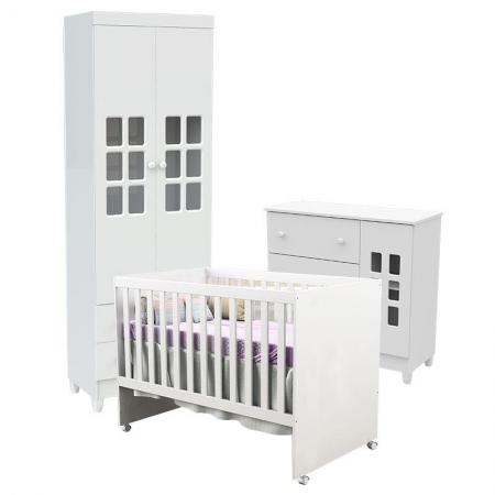 Quarto de Bebê Mariah 2P com Berço Gabi Branco Brilho - Carolina