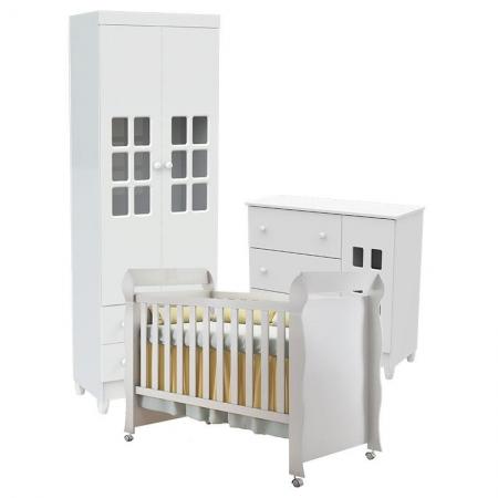 Quarto de Bebê Mariah 2P com Berço Mirelle Branco Brilho - Carolina