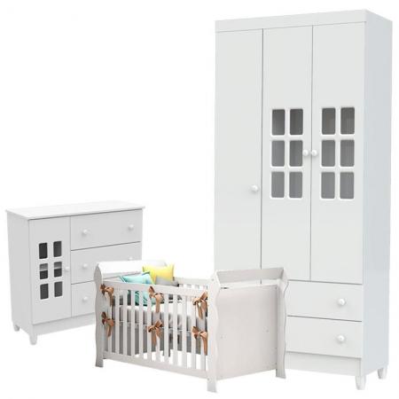 Quarto de Bebê Mariah 3 Portas com Berço Lara Branco Brilho - Carolina