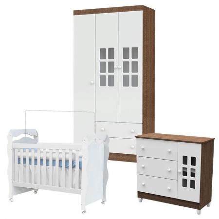 Quarto de Bebê Mariah 3 Portas com Berço New Nanda Branco Acetinado - Carolina