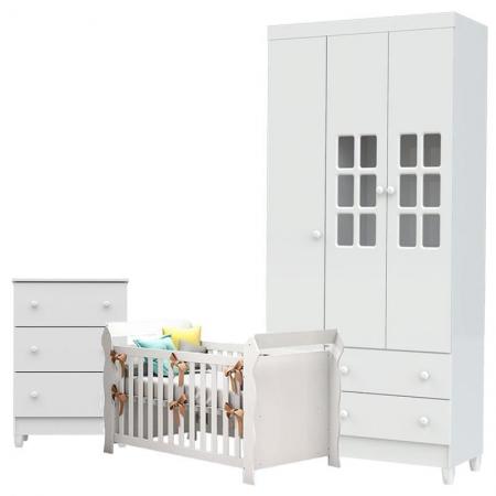 Quarto de Bebê Mariah 3 Portas Cômoda Gaveteiro com Berço Lara Branco Brilho - Carolina