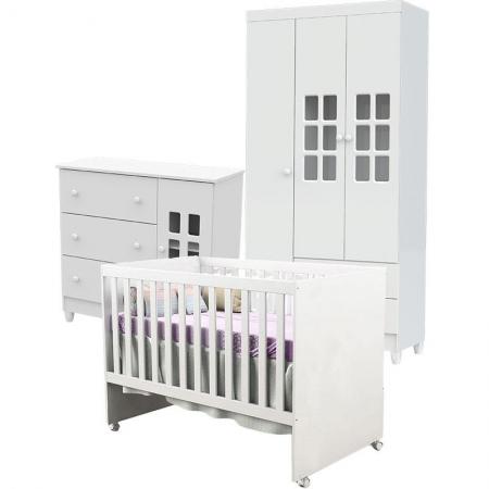 Quarto de Bebê Mariah 3P com Berço Gabi Branco Brilho - Carolina