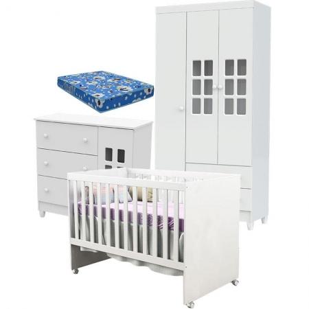 Quarto de Bebê Mariah 3P com Berço Gabi Branco Brilho com Colchão - Carolina