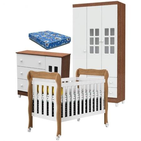 Quarto de Bebê Mariah 3P com Berço Lila Branco Acetinado Amadeirado com Colchão - Carolina