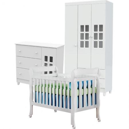 Quarto de Bebê Mariah 3P com Berço Lila Branco Brilho - Carolina