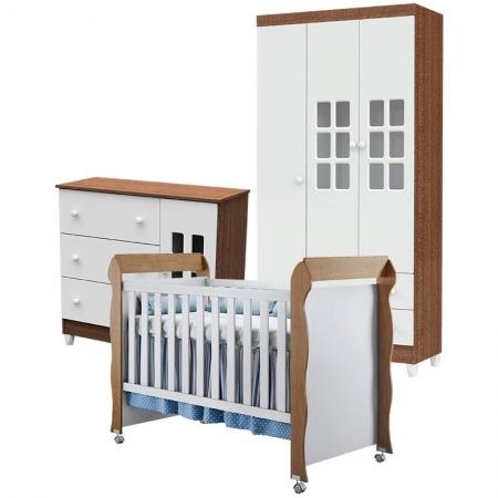 Quarto de Bebê Mariah 3P com Berço Mirelle Branco Acetinado Amadeirado - Carolina