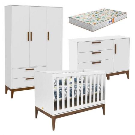 Quarto de Bebê Nature 3 Portas Branco Eco Wood com Colchão Gazin - Matic