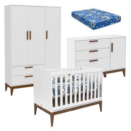 Quarto de Bebê Nature 3 Portas Branco Eco Wood com Colchão Ortobom - Matic