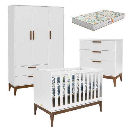 Quarto de Bebê Nature 3 Portas e Gaveteiro Branco Eco Wood com Colchão Gazin - Matic