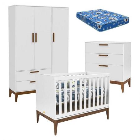 Quarto de Bebê Nature 3 Portas e Gaveteiro Branco Eco Wood com Colchão Ortobom - Matic