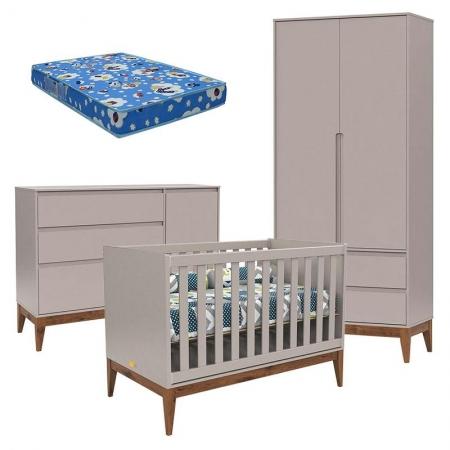 Quarto de Bebê Nature Clean 2 Portas Cinza Eco Wood com Colchão Ortobom - Matic