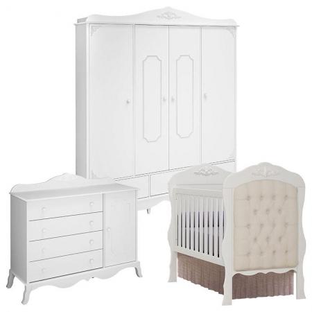 Quarto de Bebê Realeza 4 Portas Cômoda 1 Porta Berço com Capitonê Branco Acetinado - Canaã