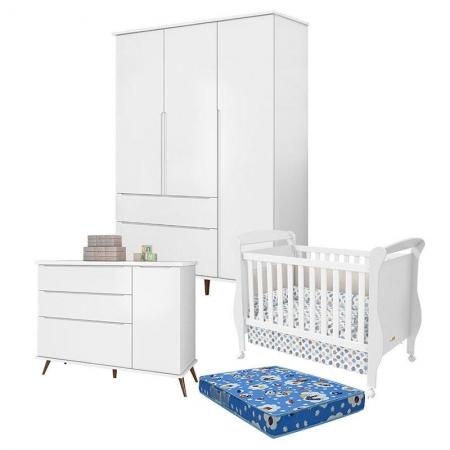 Quarto de Bebê Retro Alice 3 Portas com Berço Marquesa Branco Acetinado com Colchão Phisical Ortobom - Phoenix Baby