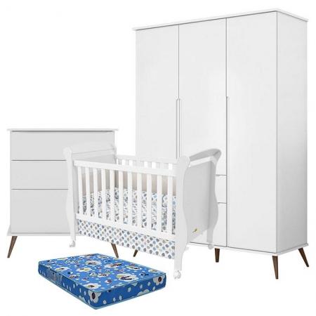 Quarto de Bebê Retro Alice 3 Portas com Gaveteiro e Berço Marquesa Branco Acetinado com Colchão Phisical Ortobom - Phoenix Baby