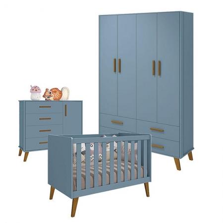 Quarto de Bebê Retro Ayla Azul Fosco - Reller