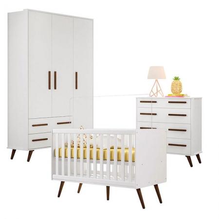 Quarto de Bebê Retrô Branco Brilho - Qmovi