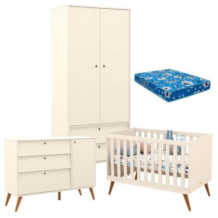 Quarto de Bebê Retro Gold 2 Portas Off White Eco Wood com Colchão - Matic