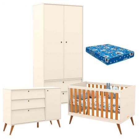 Quarto de Bebê Retro Gold 2 Portas Off White Freijó Eco Wood com Colchão - Matic