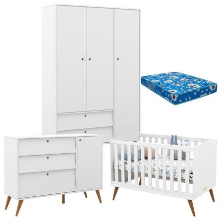 Quarto de Bebê Retro Gold 3 Portas Branco Soft Eco Wood com Colchão - Matic