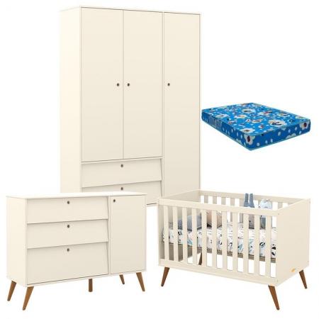 Quarto de Bebê Retro Gold 3 Portas Off White Eco Wood com Colchão - Matic