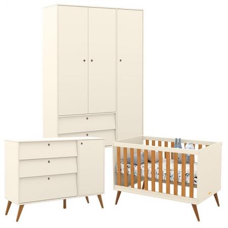 Quarto de Bebê Retro Gold 3 Portas Off White Freijó Eco Wood - Matic