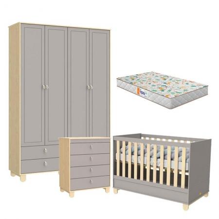 Quarto de Bebê Rope 4 Portas Natural Cinza com Colchão Gazin - Matic