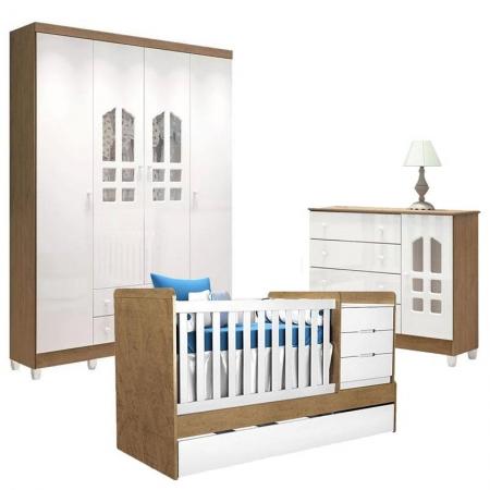Quarto de Bebê Selena 4 Portas com Berço Multifuncional Cléo Branco Acetinado Amadeirado - Carolina Móveis