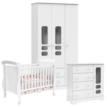 Quarto de Bebê Smart 3 Portas Branco Brilho - Matic