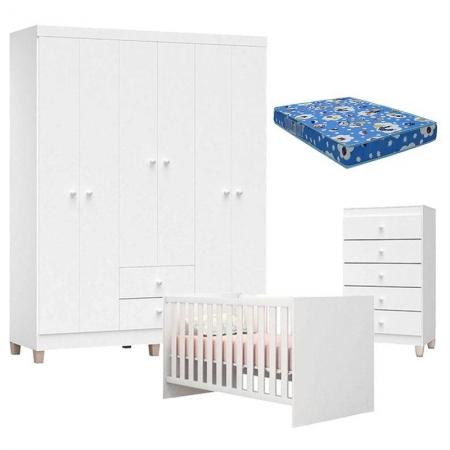 Quarto de Bebê Ternura Baby 6 Portas com Cômoda Gaveteiro Branco Brilho com Colchão - Incorplac