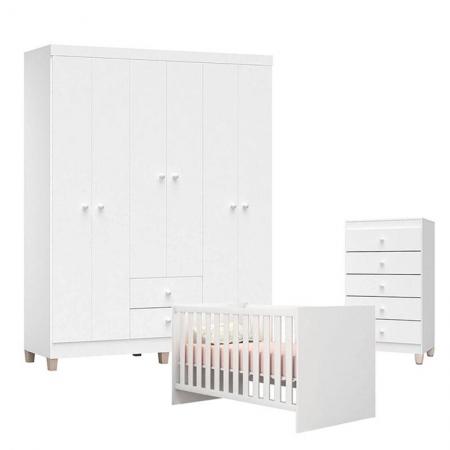 Quarto de Bebê Ternura Baby 6 Portas com Cômoda Gaveteiro Branco Brilho - Incorplac