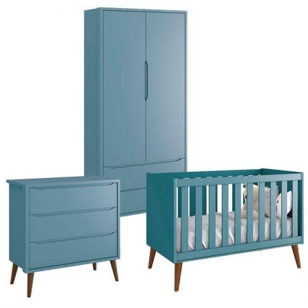 Quarto de Bebê Theo 2 Portas Azul com Pés Amadeirados - Reller