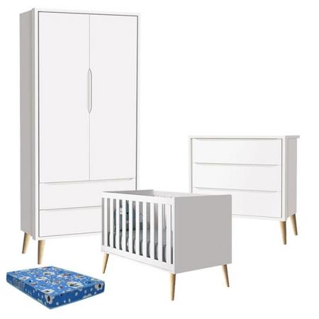 Quarto de Bebê Theo 2 Portas com Colchão e Cômoda Gaveteiro Branco Acetinado Pés Madeira Natural - Reller